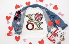 Load image into Gallery viewer, Leopard & Buffalo Plaid XOXO Valentine's Day Shirt, Kids & Adults Valentine's Day Shirt, Choose Shirt Color & Style - The Hot Polka Dot