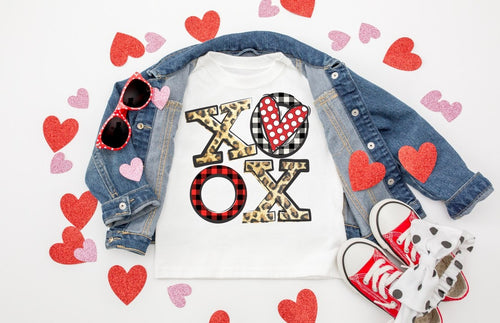 Leopard & Buffalo Plaid XOXO Valentine's Day Shirt, Kids & Adults Valentine's Day Shirt, Choose Shirt Color & Style - The Hot Polka Dot