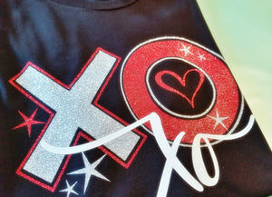 XOXO Valentine Shirt, Glitter XOXO Shirt, Choose Shirt Color - The Hot Polka Dot