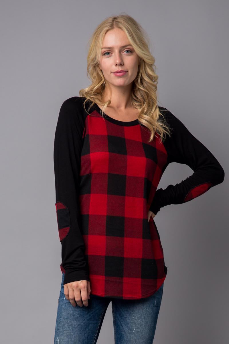 *CLEARANCE* PLUS Size Buffalo Plaid Long Sleeve Top with Elbow Patch, PLUS Size Buffalo Plaid Top - The Hot Polka Dot