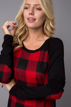 Load image into Gallery viewer, *CLEARANCE* PLUS Size Buffalo Plaid Long Sleeve Top with Elbow Patch, PLUS Size Buffalo Plaid Top - The Hot Polka Dot