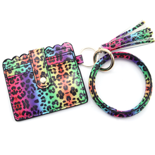 Load image into Gallery viewer, Neon Cheetah Keychain Bangle Wallet