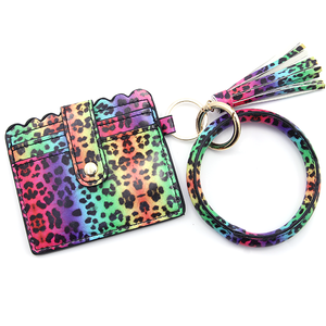 Neon Cheetah Keychain Bangle Wallet