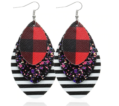Layered Buffalo Plaid, Striped Glittered Earrings - The Hot Polka Dot