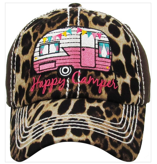 HAPPY CAMPER Leopard Print Embroidered Patch Vintage Gray Hat - The Hot Polka Dot