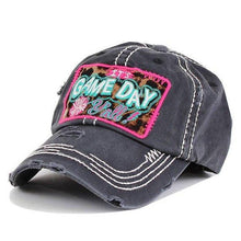 Load image into Gallery viewer, It's GAME  DAY Yall Leopard Print Embroidered Patch Vintage Gray Hat - The Hot Polka Dot