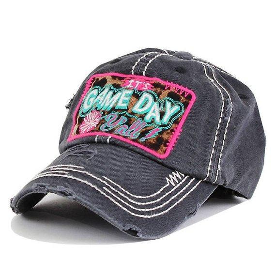 It's GAME  DAY Yall Leopard Print Embroidered Patch Vintage Gray Hat - The Hot Polka Dot