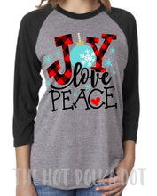 Load image into Gallery viewer, JOY Love Peace Buffalo Plaid Christmas Shirt, Adult Baseball Raglan, Choose Colors - The Hot Polka Dot
