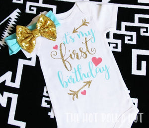 """It's My First Birthday"" Girls 1st Birthday Onesie, Cake Smash Outfit - The Hot Polka Dot"