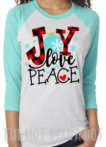 JOY Love Peace Buffalo Plaid Christmas Shirt, Adult Baseball Raglan, Choose Colors - The Hot Polka Dot