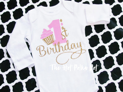 1st Birthday Cupcake onesie, Choose Short or Long Sleeve Bodysuit - The Hot Polka Dot
