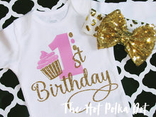 Load image into Gallery viewer, 1st Birthday Cupcake onesie, Choose Short or Long Sleeve Bodysuit - The Hot Polka Dot