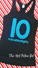 Load image into Gallery viewer, Girls 10th Birthday Shirt or Tank#doubledigits, Tenth Birthday Girl Shirt or Tank - The Hot Polka Dot