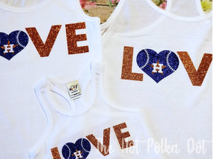 Astros LOVE Shirt, Adult or Youth Astros Shirt - The Hot Polka Dot