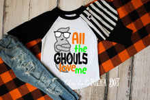 Load image into Gallery viewer, Boys Halloween Shirt, All the GHOULS Love Me, Halloween Shirt for Boys, Boys Pumpkin Patch Shirt, CHOOSE Shirt Style and Color - The Hot Polka Dot