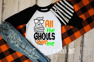 Boys Halloween Shirt, All the GHOULS Love Me, Halloween Shirt for Boys, Boys Pumpkin Patch Shirt, CHOOSE Shirt Style and Color - The Hot Polka Dot
