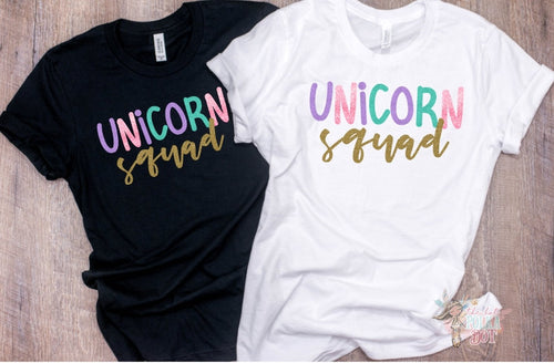 Set of 2 Matching Unicorn Squad Shirts, Adult Unicorn Squad Shirts - The Hot Polka Dot