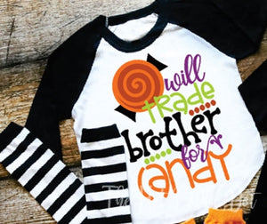Matching Halloween Sibling Shirts, Brother and Sister Matching Halloween Shirts, Will Trade BROTHER or SISTER for Candy, Choose Shirt Color - The Hot Polka Dot