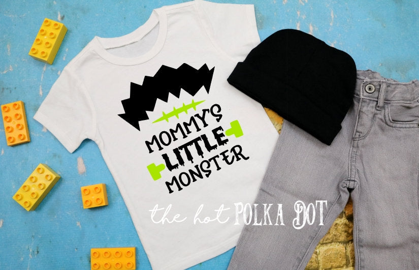 Boys Halloween Shirt, Mommy's Little Monster, TShirt or Raglan - The Hot Polka Dot