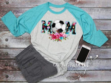 Load image into Gallery viewer, Soccer Mom Shirt, Floral Soccer Ball Shirt, Choose Shirt Color - The Hot Polka Dot