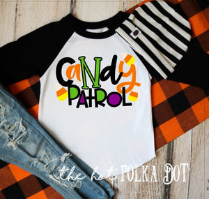 Boys Halloween Shirt, CANDY PATROL, Trick or Treat Shirt for Boys, Boys Pumpkin Patch Shirt, CHOOSE Shirt Style and Color, Boys Halloween - The Hot Polka Dot
