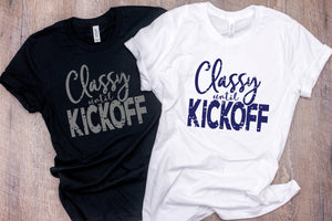 Classy until Kickoff, Football Game Day Shirt, Grunge Football Shirt, Choose Colors - The Hot Polka Dot