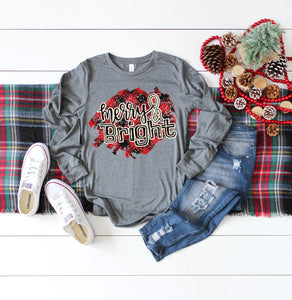 Buffalo Plaid Merry & Bright Christmas Long Sleeve Shirt, Choose Shirt Color - The Hot Polka Dot