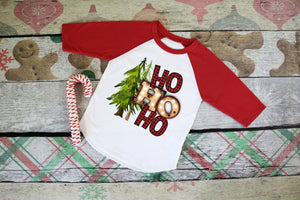 Boys Christmas Shirt, HO HO HO Buffalo Plaid, Choose Shirt Style - The Hot Polka Dot