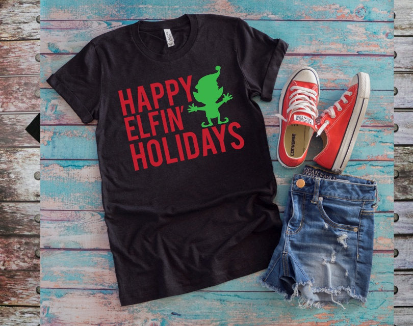 Adult Funny Christmas Graphic Tee, Happy ELFin' Holidays Shirt, Elf Shirt Choose Color - The Hot Polka Dot