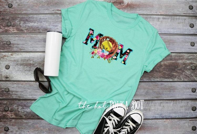 Cute Softball Mom Shirt, Floral Softball Glove Mom Shirt, Choose Shirt Color - The Hot Polka Dot