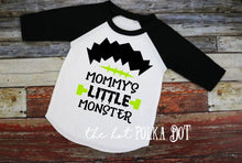 Load image into Gallery viewer, Boys Halloween Shirt, Mommy's Little Monster, TShirt or Raglan - The Hot Polka Dot