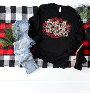 Buffalo Plaid Merry & Bright Christmas Shirt, Short Sleeve Shirt, Choose Shirt Color - The Hot Polka Dot