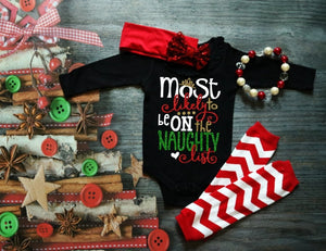 Girls Christmas Shirt or Bodysuit, Most Likely to be on the Naughty List - The Hot Polka Dot