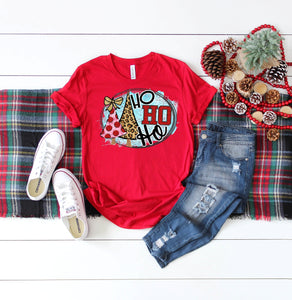 Ho ho Ho Leopard Christmas Tree Graphic Tee,  Short or Long Sleeve, Cute Christmas Shirts - The Hot Polka Dot