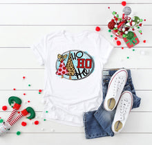 Load image into Gallery viewer, Ho ho Ho Leopard Christmas Tree Graphic Tee,  Short or Long Sleeve, Cute Christmas Shirts - The Hot Polka Dot