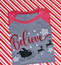 "Load image into Gallery viewer, Christmas ""Believe"" Raglan, Holiday Shirts, Adult Christmas Shirts, Choose Colors - The Hot Polka Dot"