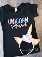 Load image into Gallery viewer, Girls Unicorn Squad Shirt, Choose Shirt Style and Color, Unicorn Birthday Shirt - The Hot Polka Dot