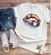 Load image into Gallery viewer, Houston Astros Glitter Lips Tank or TShirt - The Hot Polka Dot