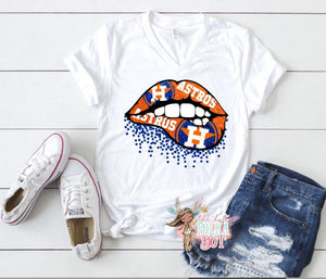 Houston Astros Glitter Lips Tank or TShirt - The Hot Polka Dot