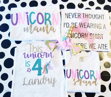 Load image into Gallery viewer, Set of 3 Matching Unicorn Birthday Shirts, Mom & Dad and Birthday Girl, Unicorn Birthday Shirts, Mom of Birthday Girl, Dad of Birthday Girl - The Hot Polka Dot