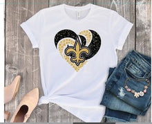 Load image into Gallery viewer, New Orleans SAINTS Diamond Heart Shirt or Tank, Choose Shirt Style - The Hot Polka Dot