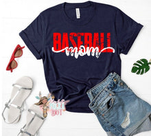 Load image into Gallery viewer, Baseball Mom Shirt, Distressed Baseball Mom Shirt, Custom Team Colors, You Choose Shirt Color & Style - The Hot Polka Dot