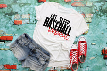 Load image into Gallery viewer, Eat Sleep Baseball REPEAT Shirt, Cute Baseball Shirts, Soft Bella Tshirts, Choose Shirt Color & Style - The Hot Polka Dot