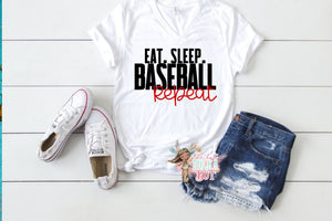 Eat Sleep Baseball REPEAT Shirt, Cute Baseball Shirts, Soft Bella Tshirts, Choose Shirt Color & Style - The Hot Polka Dot