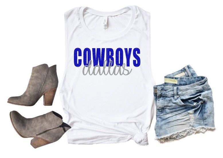Dallas COWBOYS Tank or TShirt, Football Shirt, Kids & Adults - The Hot Polka Dot