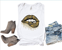 Load image into Gallery viewer, New Orleans SAINTS Glitter Lips Tank or TShirt - The Hot Polka Dot