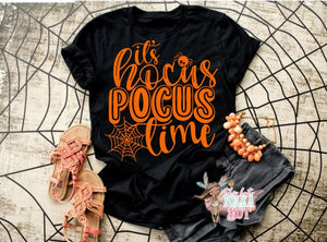 It's HOCUS POCUS Time, Adult Halloween Shirt, CHOOSE Shirt Color - The Hot Polka Dot