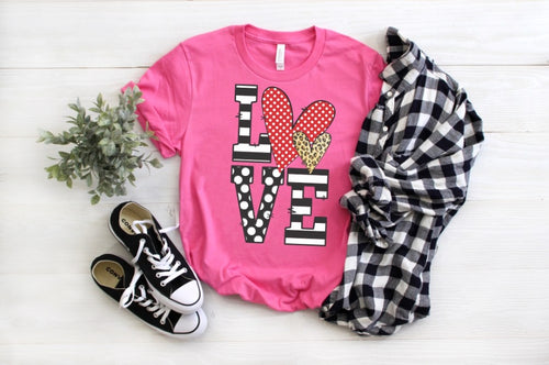 LOVE Stacked Valentine's Day Shirt, Choose Shirt Color - The Hot Polka Dot