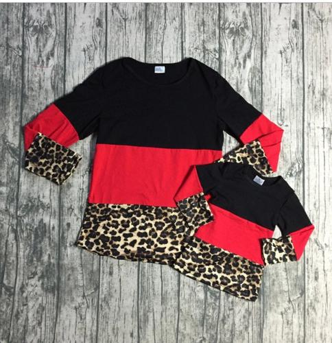 Long Sleeve Leopard Print & Red Color Block Top, Mommy & Me