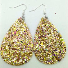 Load image into Gallery viewer, Gold Glitter Leather Teardrop Earrings - The Hot Polka Dot